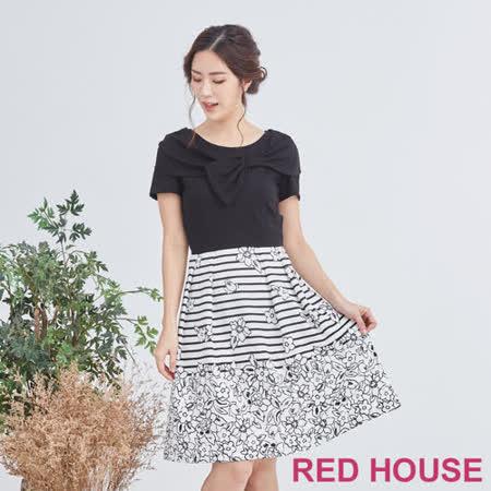 Red House 蕾赫斯-蝴蝶結花朵條紋洋裝(黑色)
