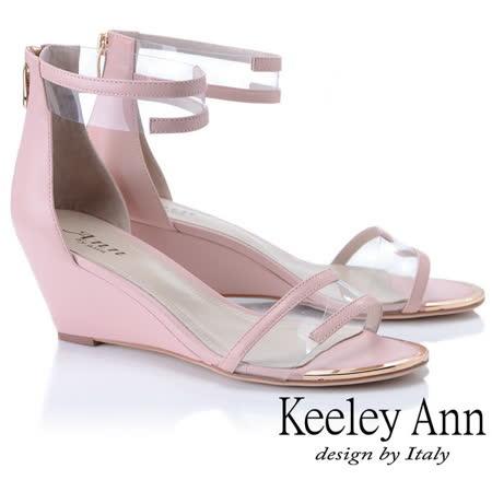 Keeley Ann時尚膠片 一字帶金屬圓楦楔型涼鞋(粉紅色922687356-Ann系列)