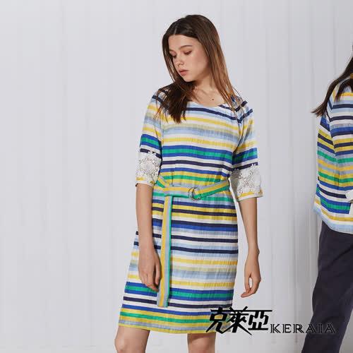 【KERAIA 克萊亞】夏日彩條蕾絲袖棉麻洋裝(附腰帶)