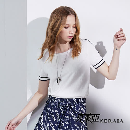 【KERAIA 克萊亞】菱格織紋邊框針織上衣(白色)