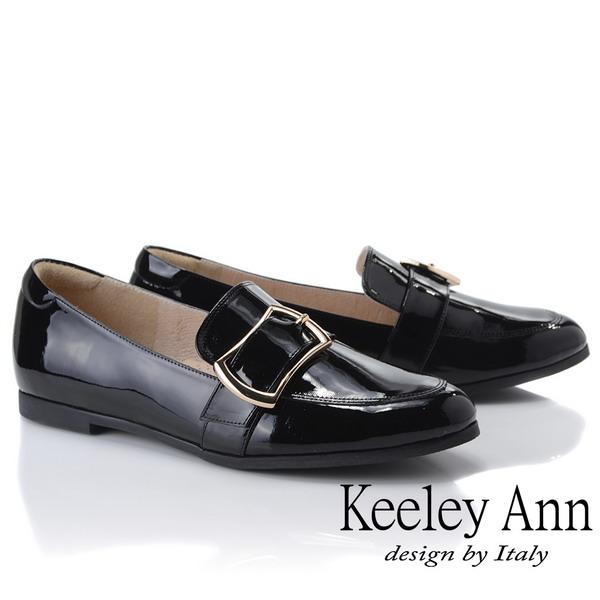 Keeley Ann慵懶盛夏 全真皮漆皮方扣包鞋(黑色935028210)