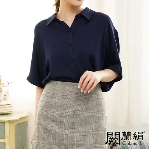 闕蘭絹 優雅知性雪紡短袖襯衫100%蠶絲上衣 – 藍-6416