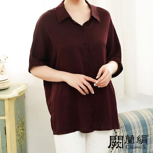 闕蘭絹 優雅知性雪紡短袖襯衫蠶絲上衣 – 紫 -6416