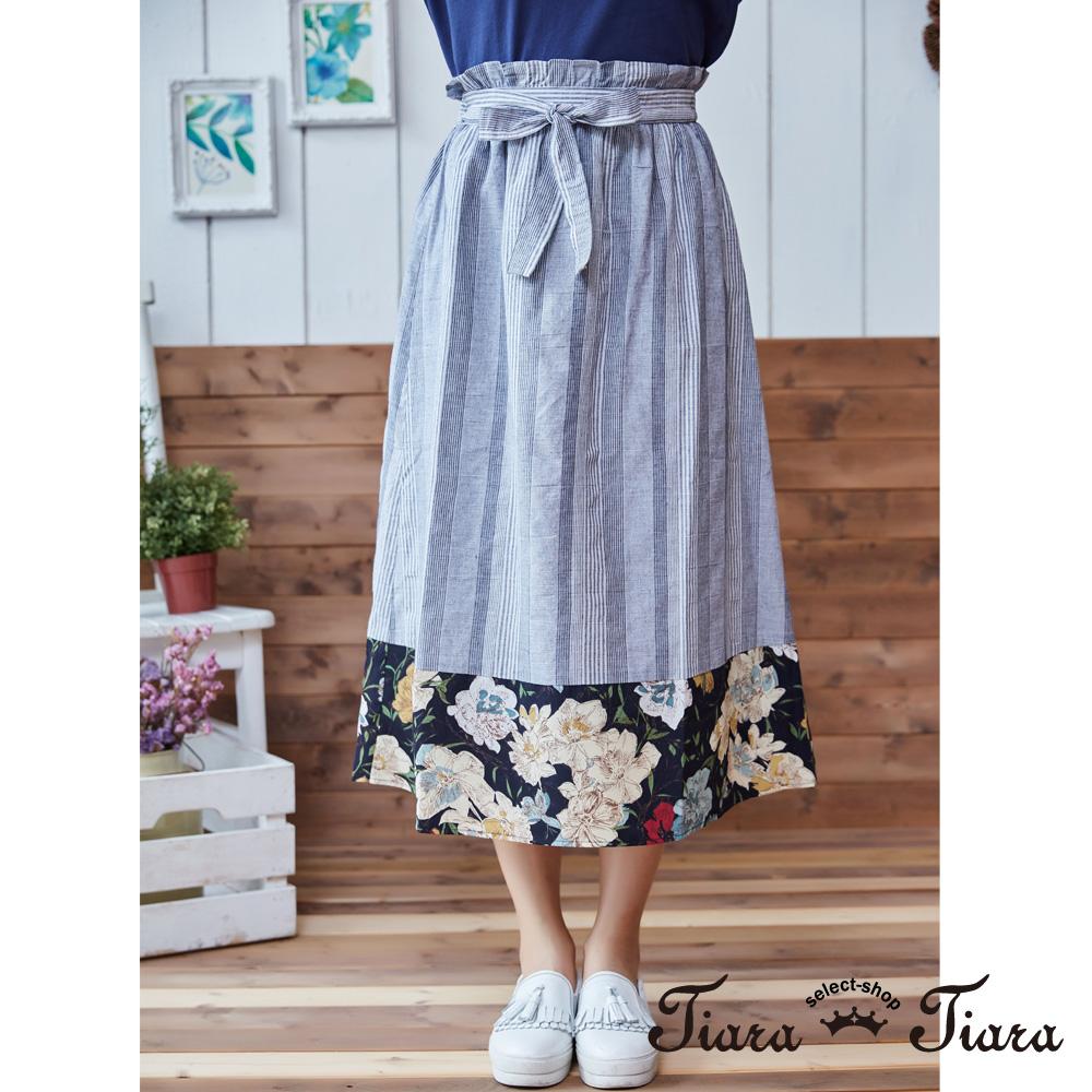 【Tiara Tiara】直紋花繪鬆緊腰綁帶半身裙(藍)