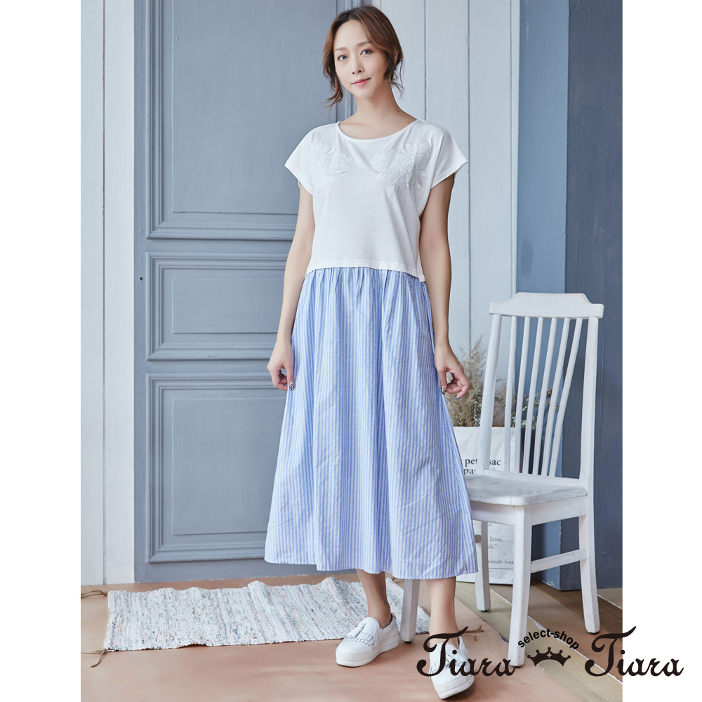 【Tiara Tiara】假兩件式花紋x直紋裙洋裝(白)