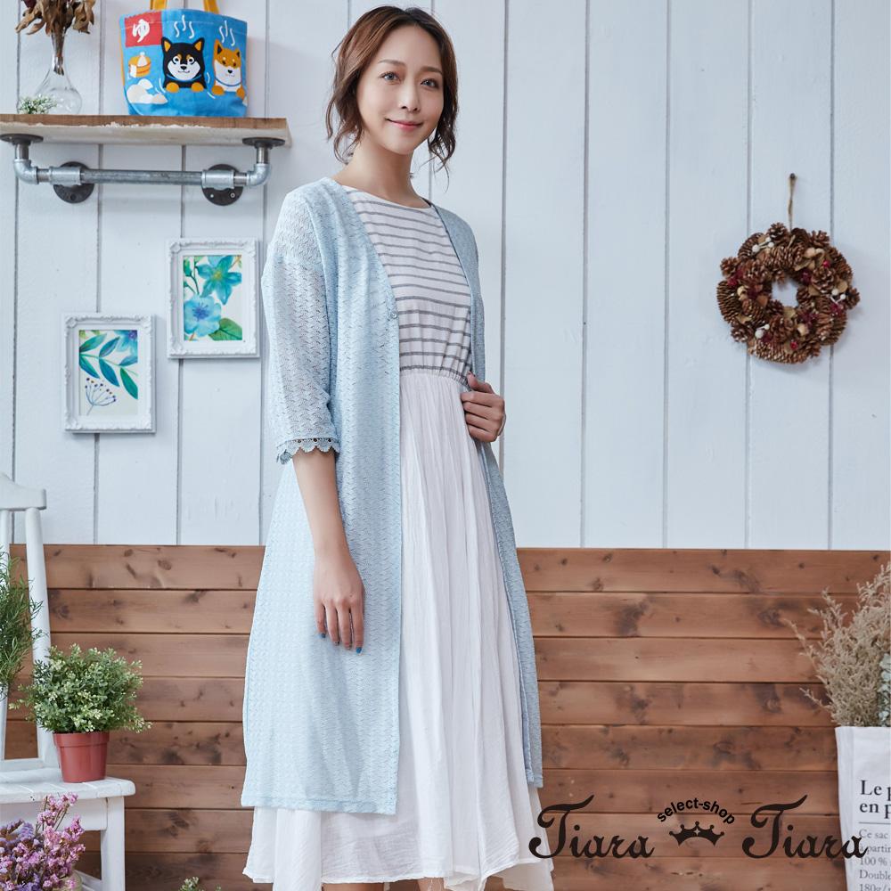 【Tiara Tiara】蕾絲針織葉紋五分袖綁帶罩衫(深藍/淺綠)