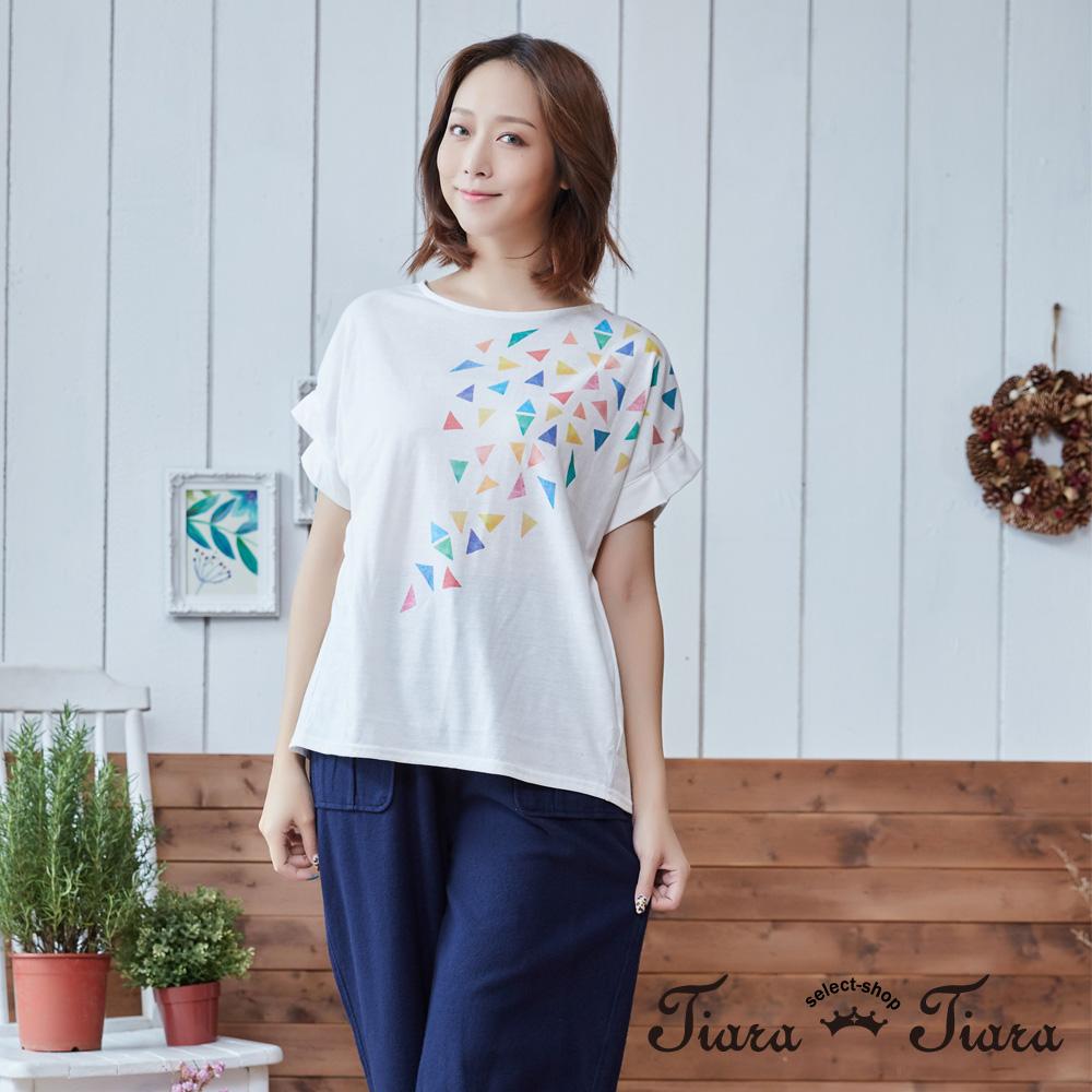 【Tiara Tiara】三角形彩帶寬版短袖上衣(白/灰)