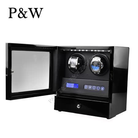 P&W手錶自動上鍊盒 2+2支裝 5種轉速設定 矽膠錶枕 遙控功能 機械錶專用 旋轉盒