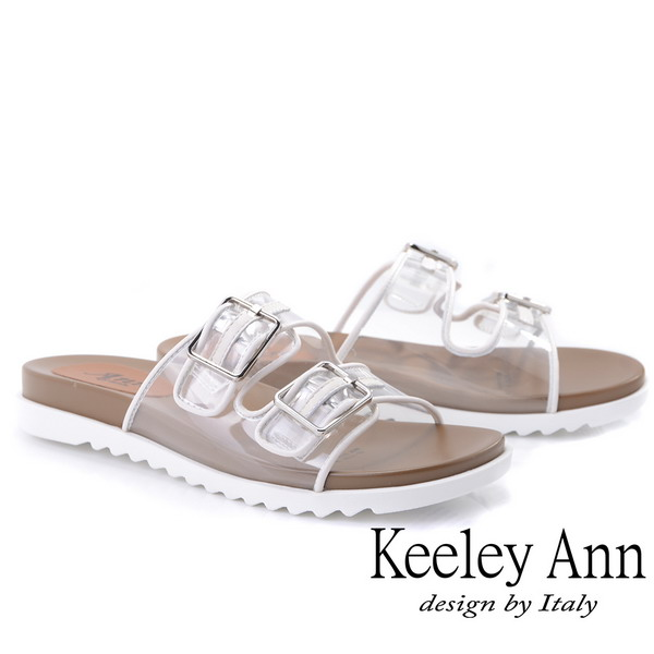 Keeley Ann時尚膠片 雙帶透視金屬飾釦拖鞋(白色921772340-Ann系列)