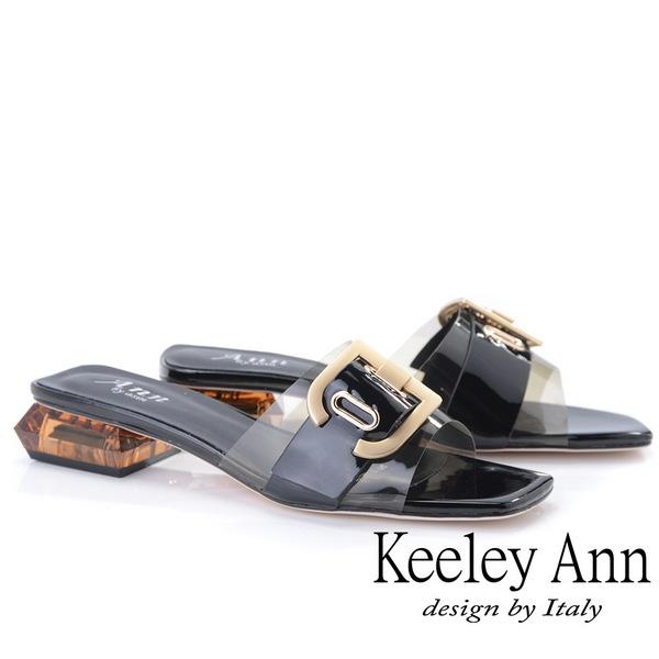 Keeley Ann時尚膠片 金屬D飾釦造型透視跟拖鞋(黑色921647110-Ann系列)