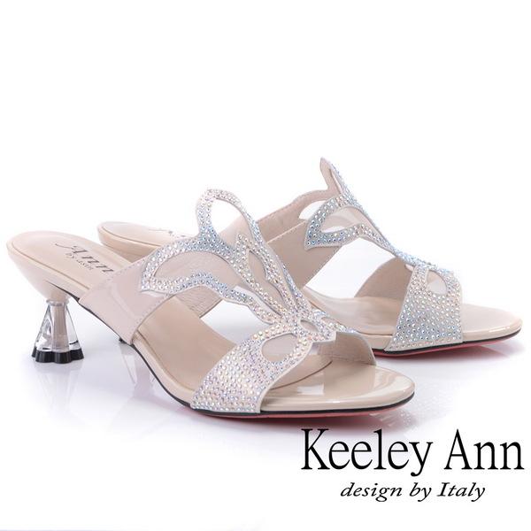 Keeley Ann造型透視跟 鏤空網紗水鑽拖鞋(裸色921932733-Ann系列)