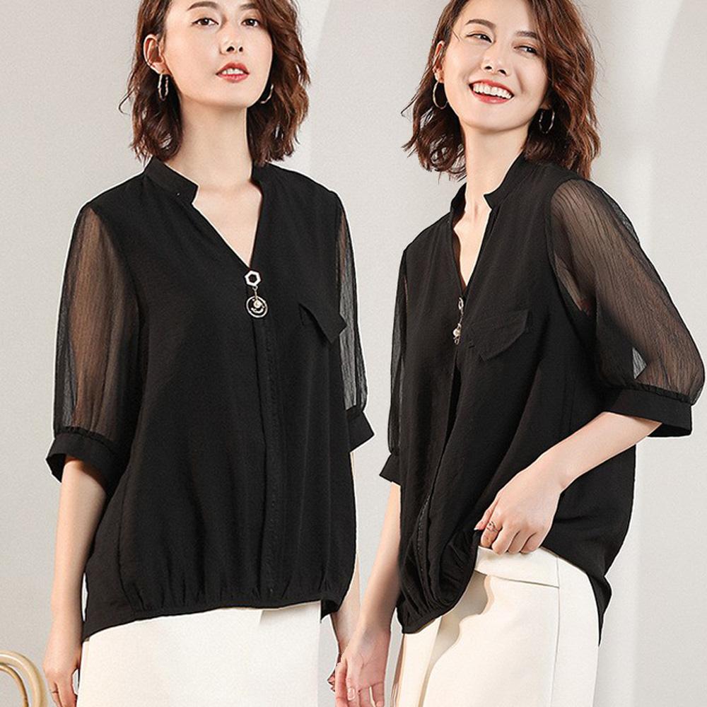 麗質達人(XL-5XL)黑色雪紡拼接上衣19618