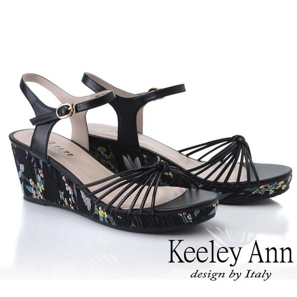 Keeley Ann細條帶 細帶鞋面花紋側邊楔型鞋(黑色922847310-Ann系列)