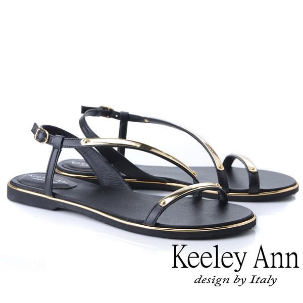 Keeley Ann金屬飾釦 金屬條帶環繞平底涼鞋(黑色932008210)
