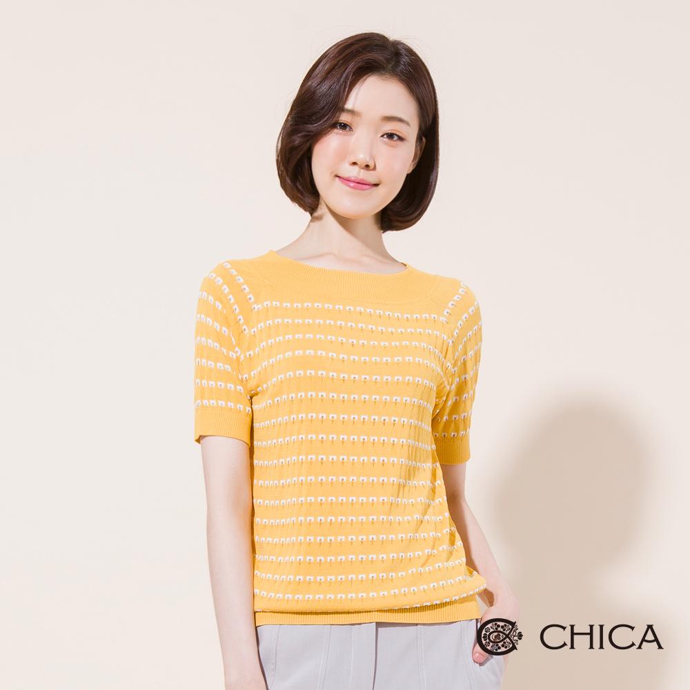 CHICA 法式優雅幾何排列短袖針織衫(2色)
