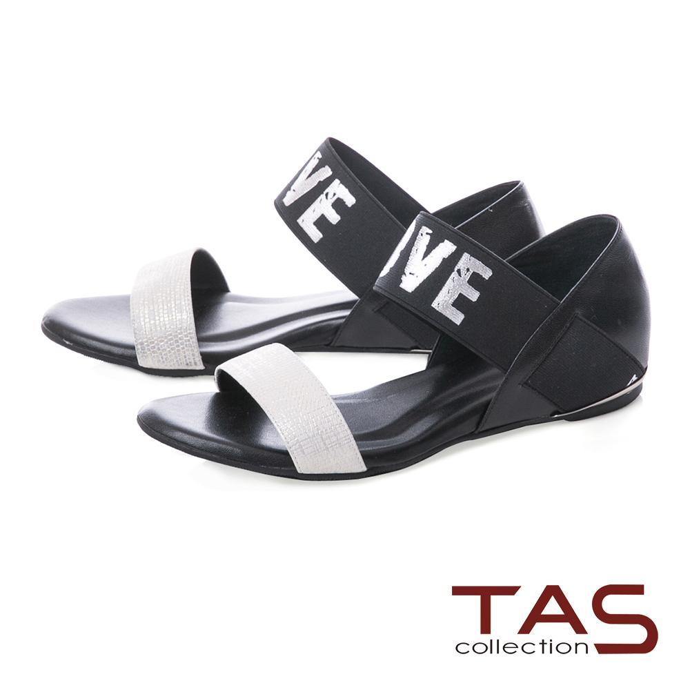 TAS 金屬感LOVE一字繫帶內增高涼鞋-氣質白