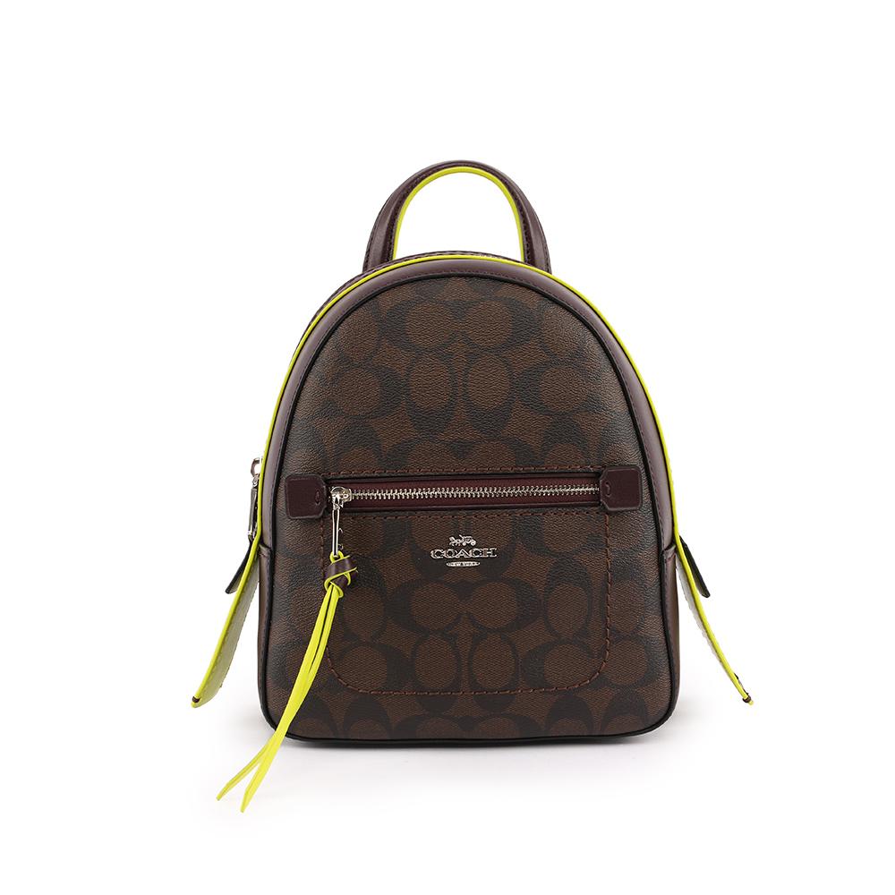 【COACH】PVC LOGO口袋後背包(小)(棕/螢光黃) F38998 SVDLP