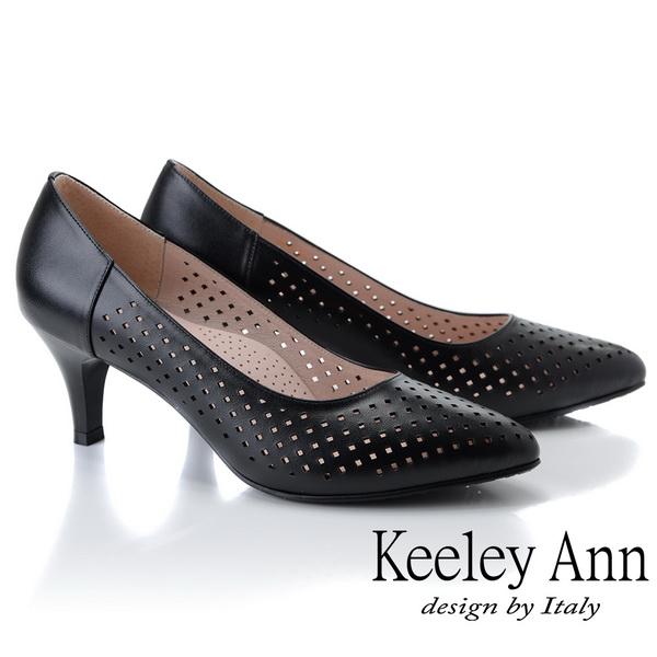 Keeley Ann慵懶盛夏 菱形鏤空美型中跟包鞋(黑色935258110)