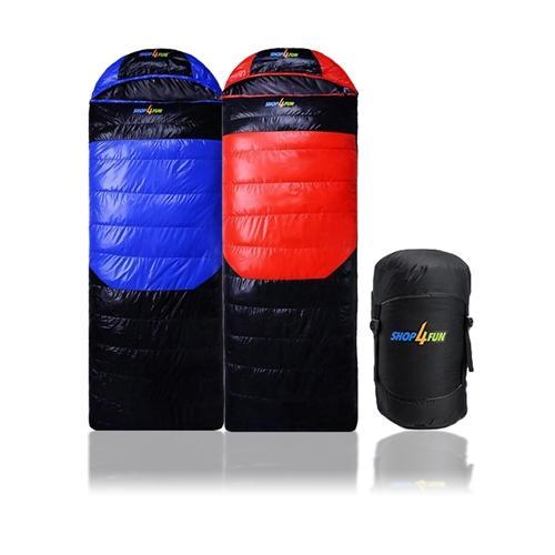shop4fun 冬季羽絨睡袋~藍黑 紅黑兩色拆帽可拼接 /兩色可選