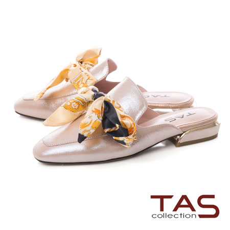 TAS 印花蝴蝶結穆勒鞋