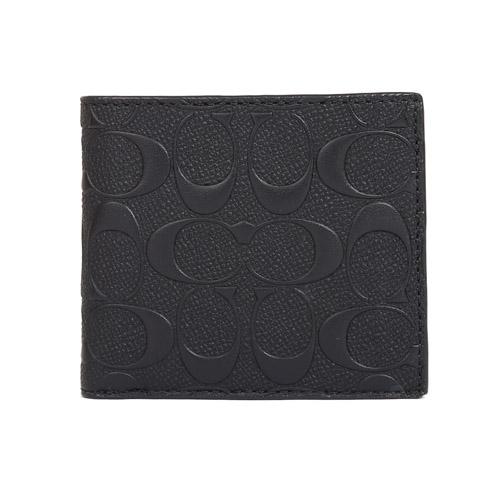 COACH 浮雕LOGO 皮革對開釦式零錢袋男仕短夾(黑色)