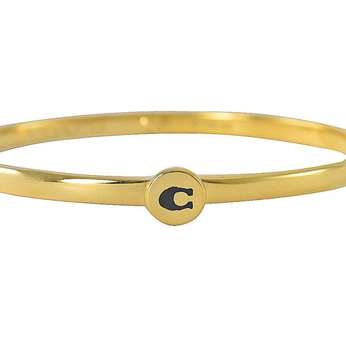 COACH  新款 經典C LOGO 造型細版手環.金