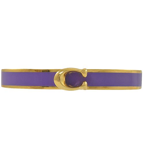 COACH  新款 經典C字 LOGO 寬版手環.金/紫邊