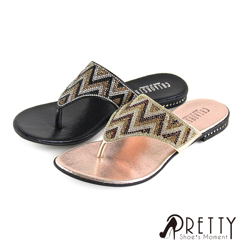 【Pretty】撞色精緻水鑽夾腳平底拖鞋