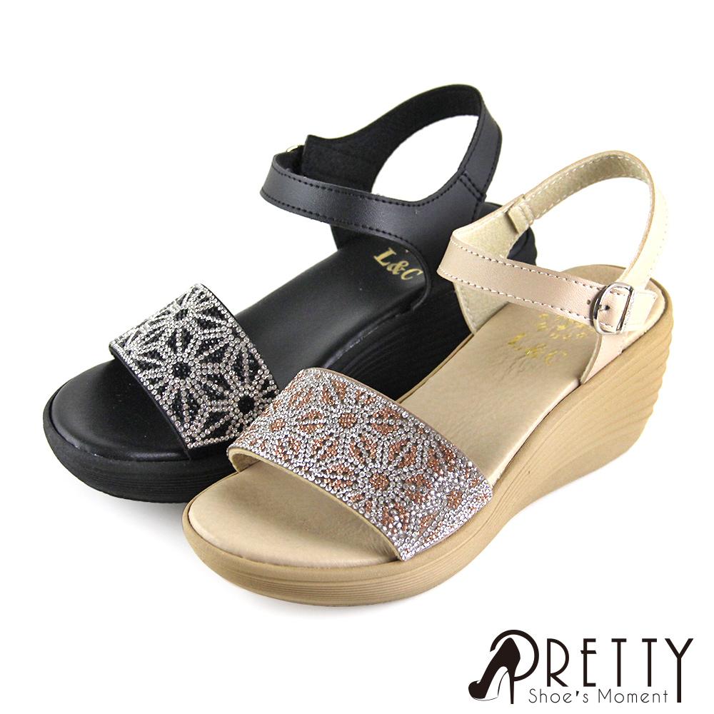 【Pretty】寬版線條精緻水鑽沾黏式楔型涼鞋
