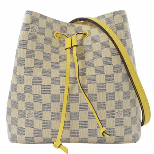 Louis Vuitton LV N40151 Neonoe 白棋盤格紋肩斜兩用水桶包.黃色 _現貨