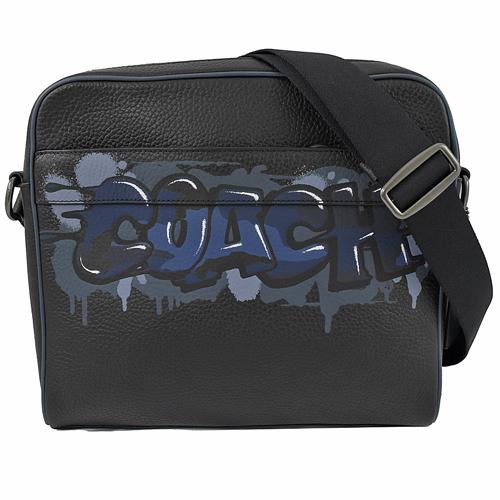 COACH 街頭塗鴉LOGO 牛皮織帶斜背包.黑/藍邊