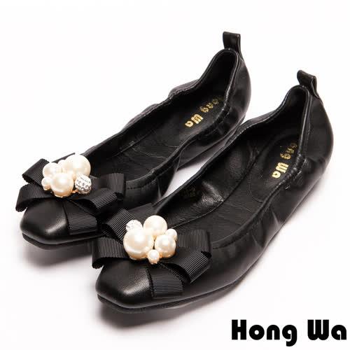 Hong Wa 名媛氣息珍珠蝴蝶結娃娃鞋-黑