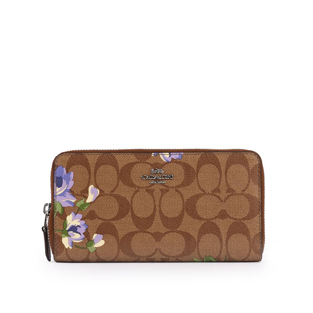 【COACH】馬車LOGO PVC花卉ㄇ拉長夾(卡其/紫色) F73345 SVOTK
