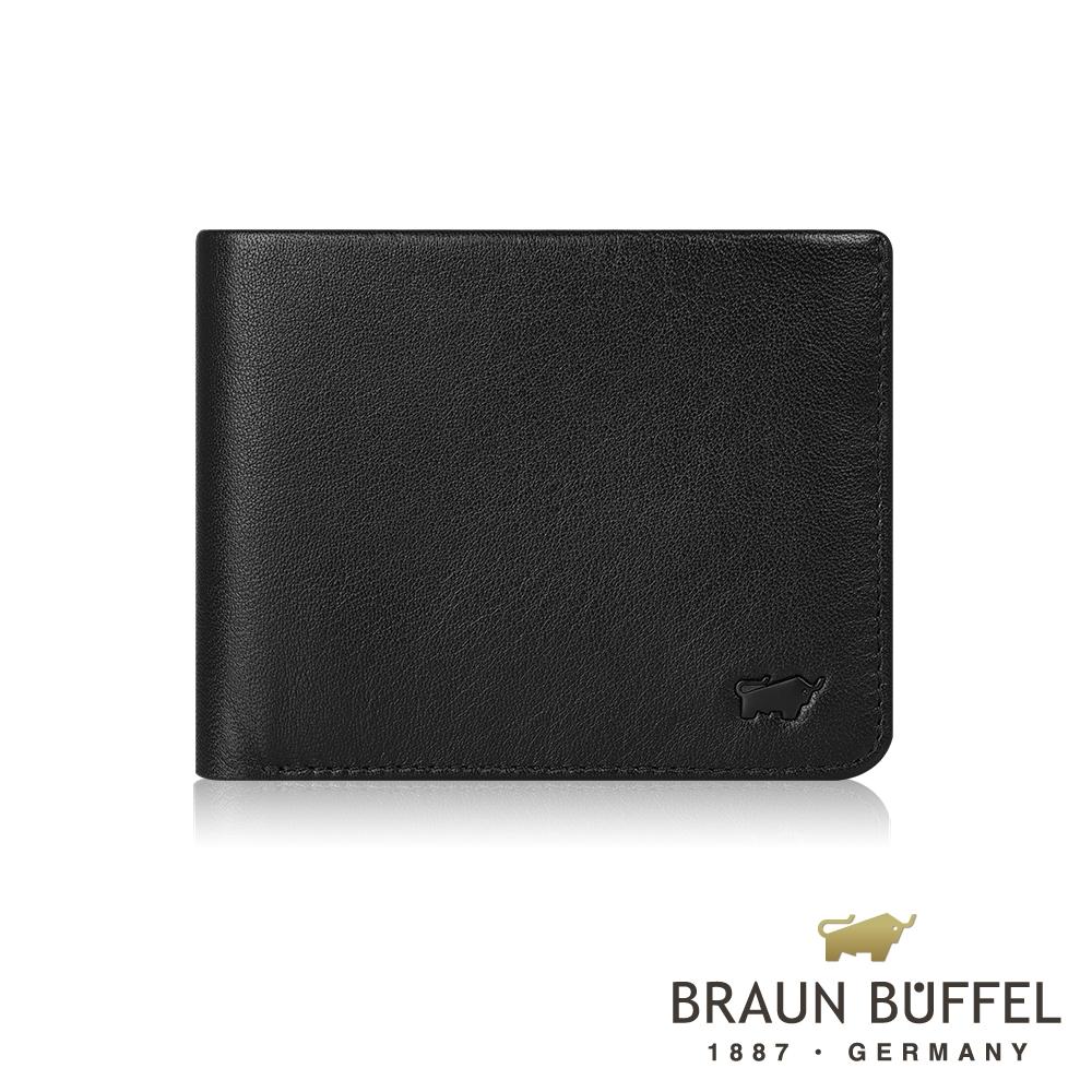 【BRAUN BUFFEL德國小金牛】提洛斯R系列8卡皮夾(時尚黑) / BF335-R313-BK