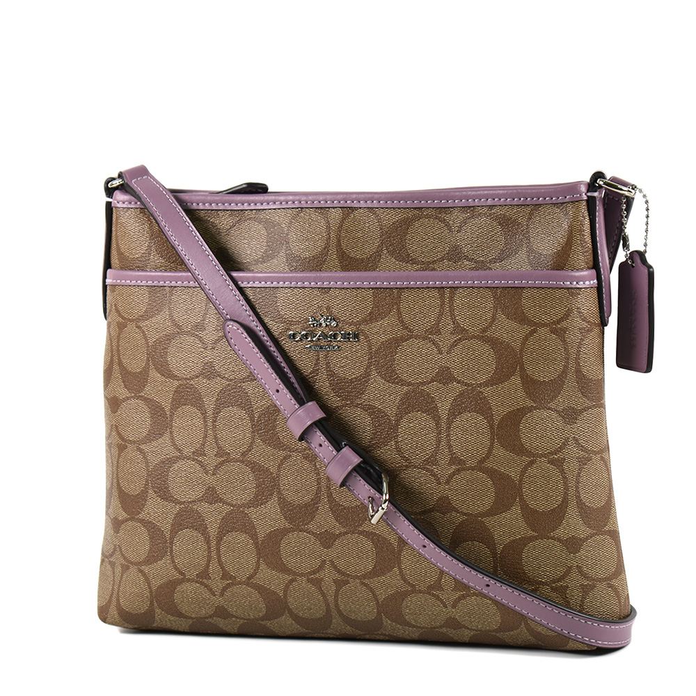 COACH 緹花LOGO防刮皮革前置物袋斜背包-小/茉莉紫