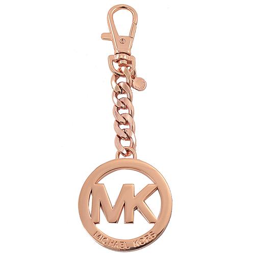 MICHAEL KORS KEY CHARMS 圓形大MK吊飾鑰匙圈.玫瑰金
