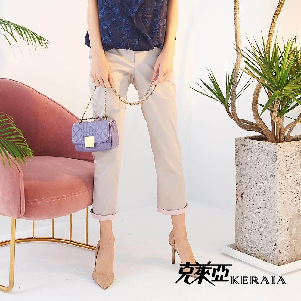 【KERAIA 克萊亞】粉嫩配色彈性棉料長褲