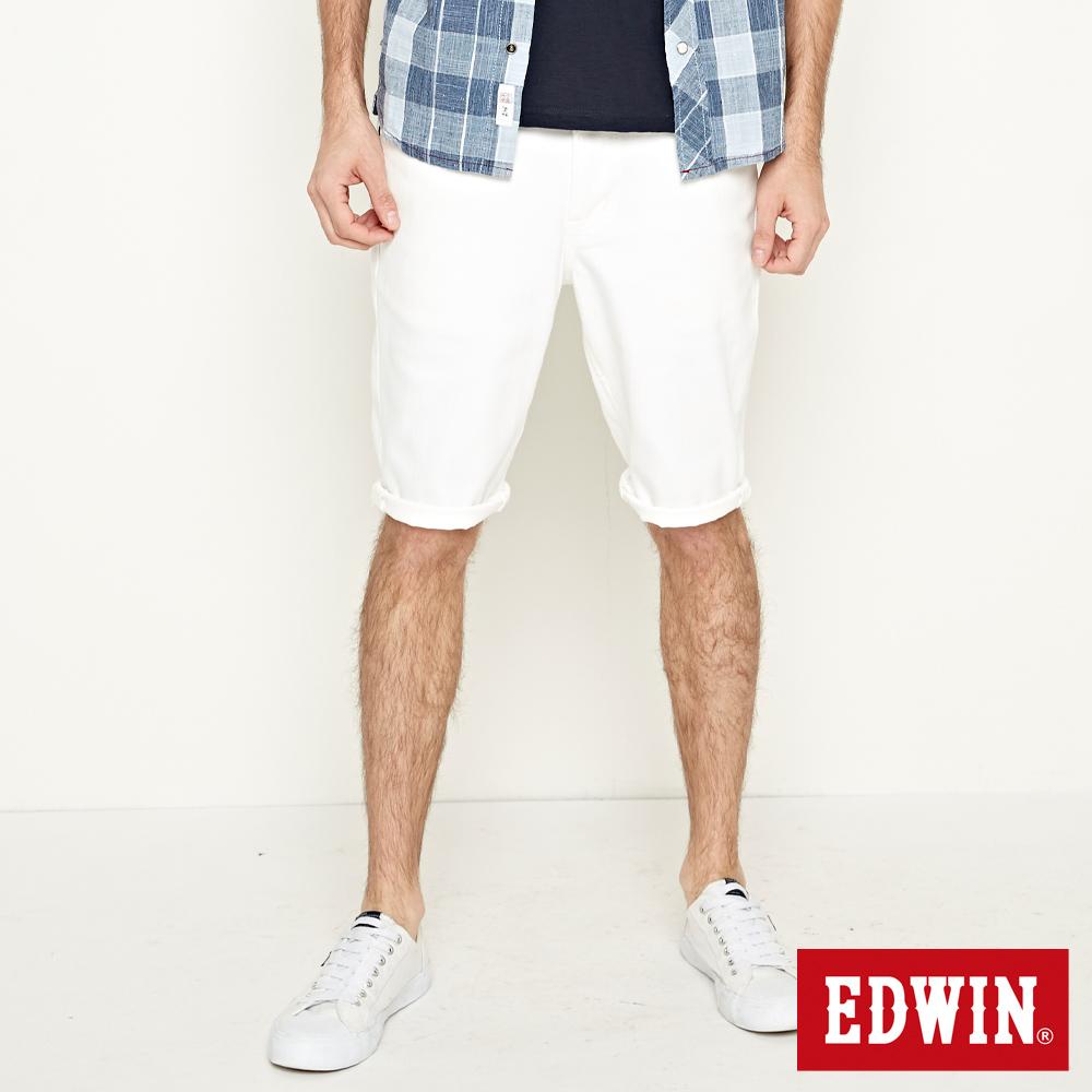EDWIN 加大碼 503基本五袋短褲-男-白色
