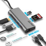 Type-C hub 七合一多功能充電傳輸集線器HDMI SD TF USB3.0 PD