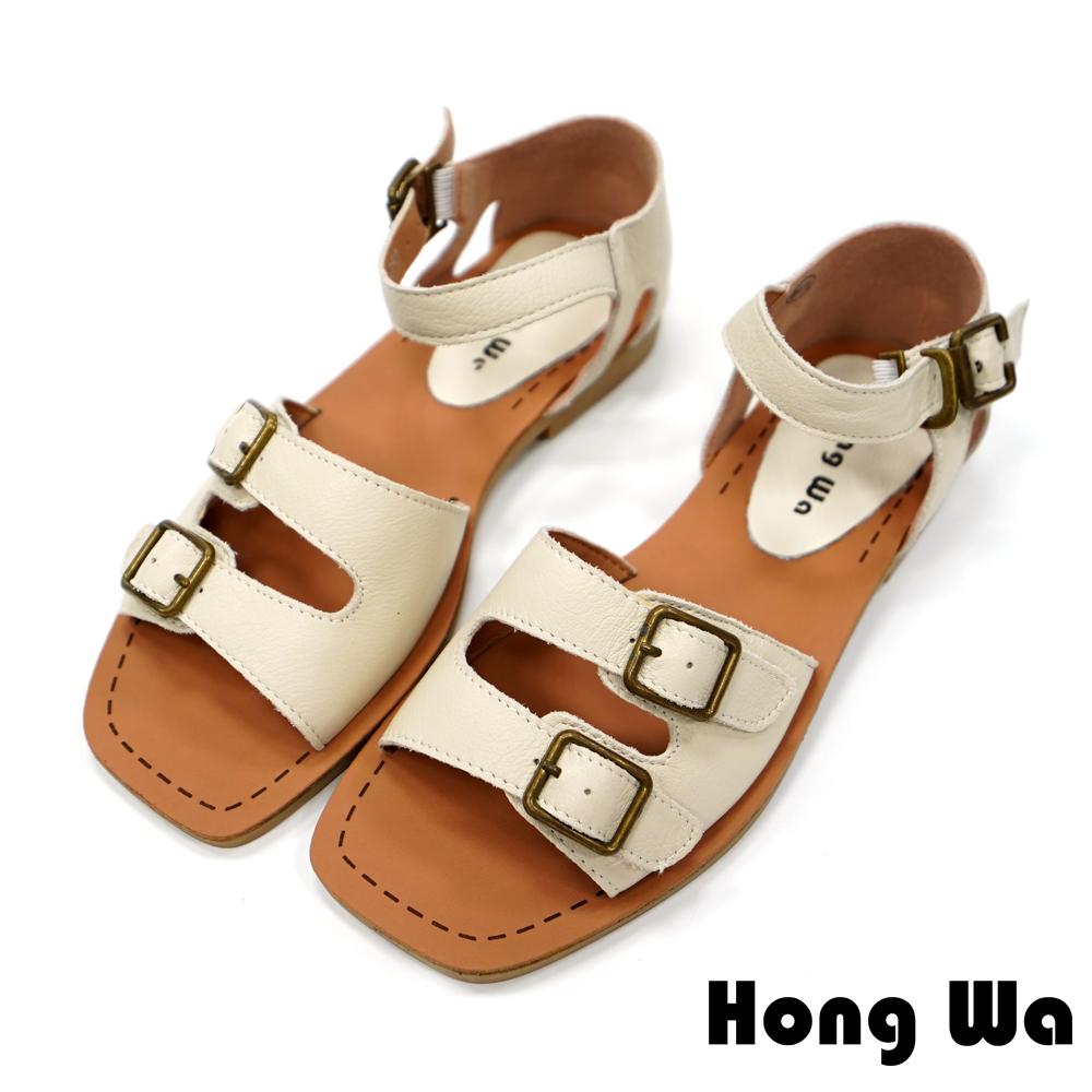 Hong Wa 素面牛皮扣環魚口涼鞋-米