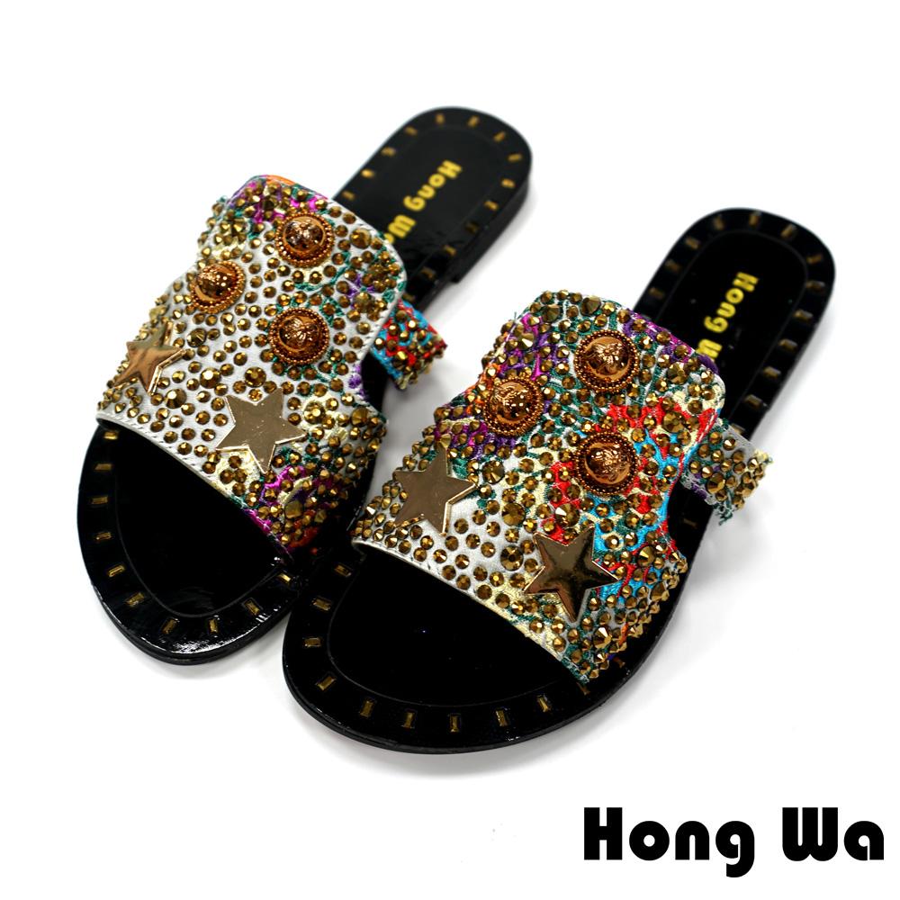 Hong Wa - 時尚海洋風水鑽透氣拖鞋- 銀
