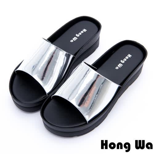 Hong Wa - 極簡時尚休閒厚底拖鞋 - 銀