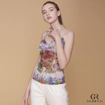 【GLORY21】香濃瑟堡印花細肩帶背心(背心)(紫)