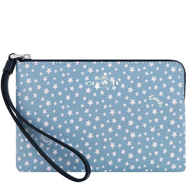 COACH 星星圖樣PVC手拿包-粉藍色