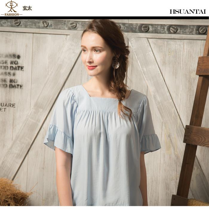 玄太- 方領胸前抓皺荷葉五分造型袖棉質上衣(藍)