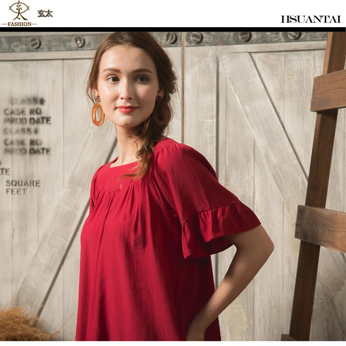 玄太- 方領胸前抓皺荷葉五分造型袖棉質上衣(紅)