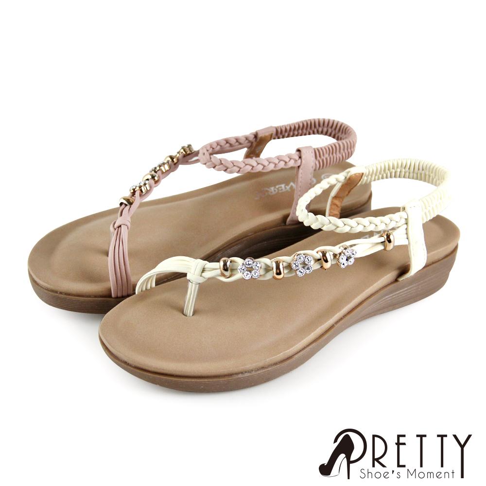 【Pretty】編織線條精緻花朵水鑽後鬆緊帶小坡跟涼鞋