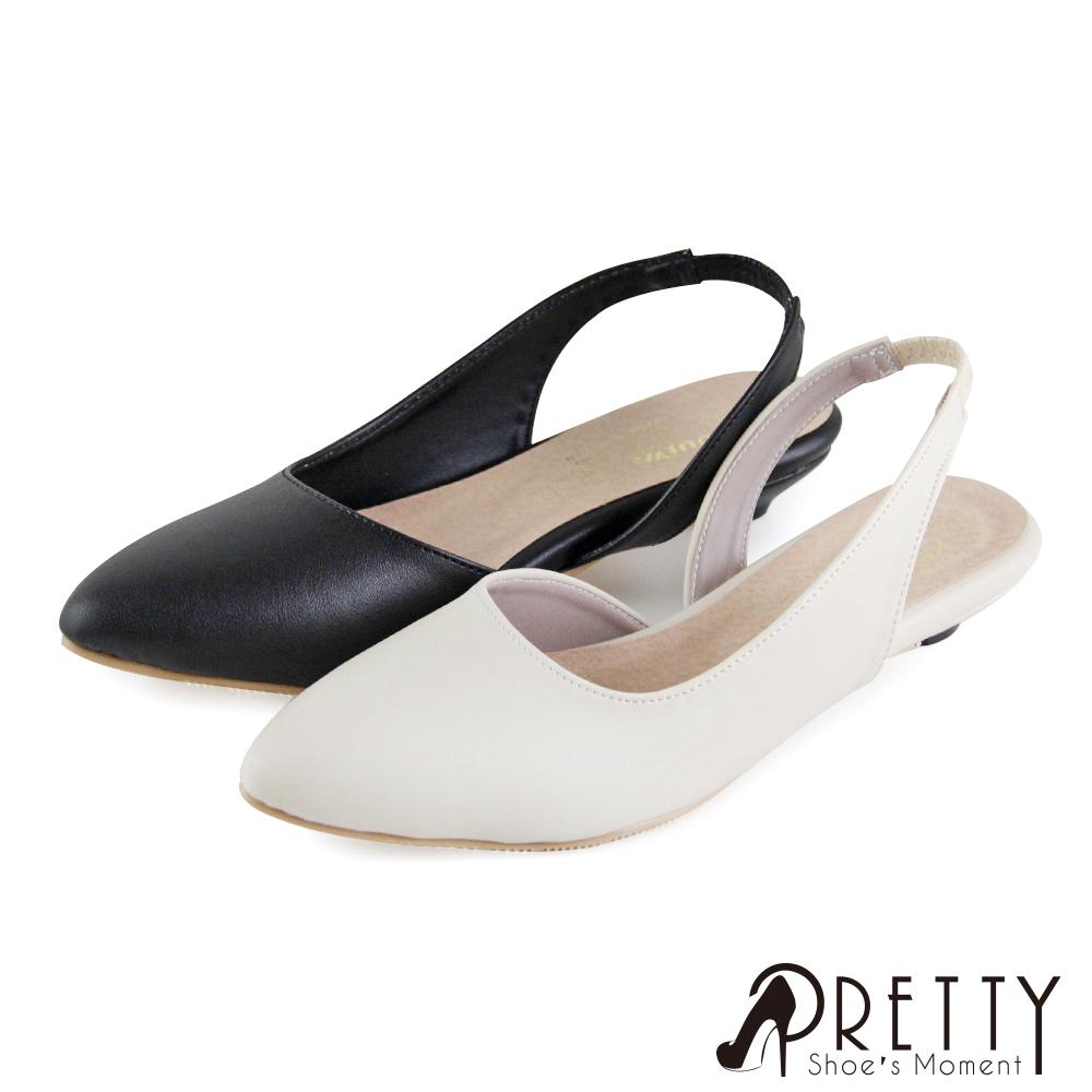 【Pretty】素面俐落剪裁後鬆緊帶低跟尖頭涼鞋