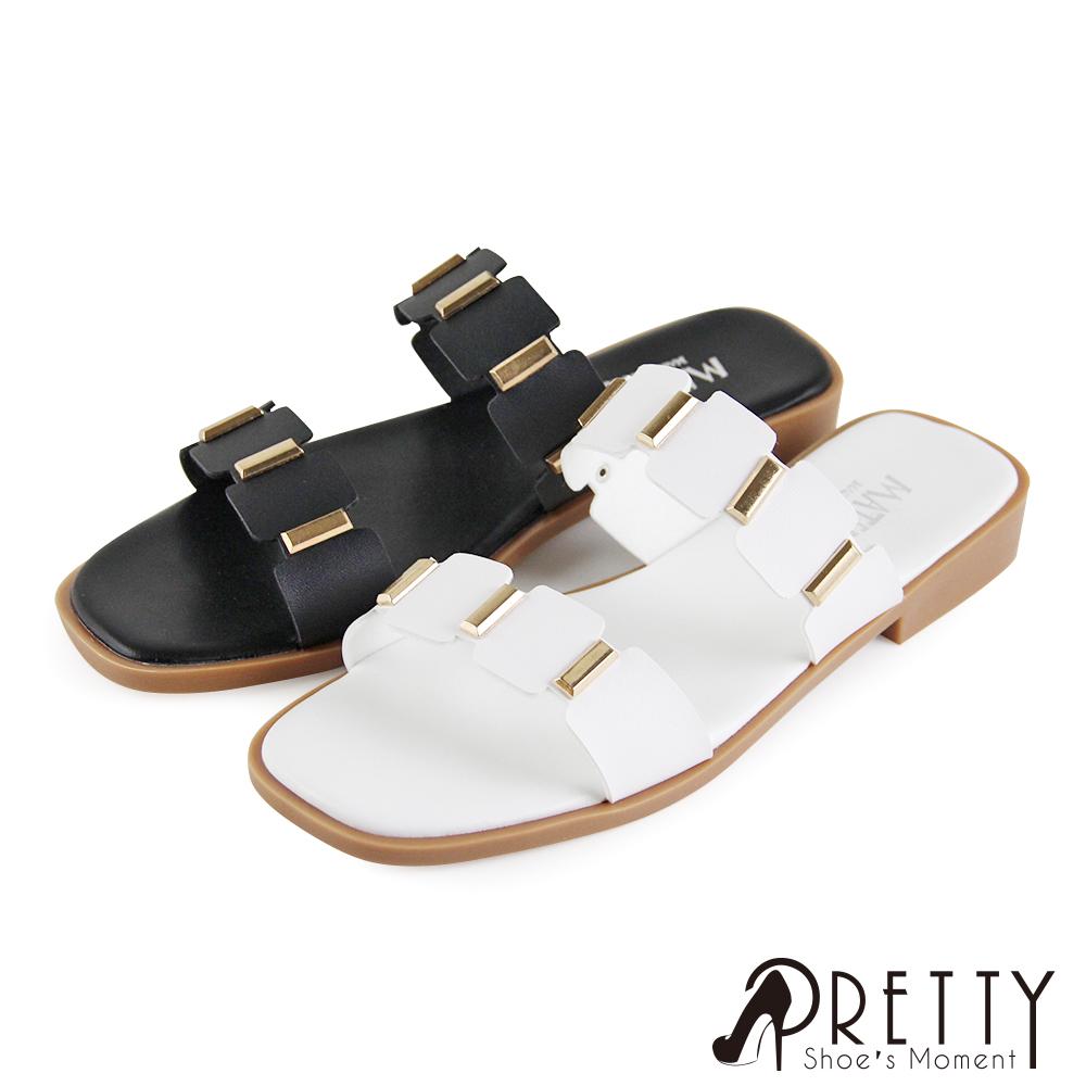 【Pretty】寬版線條方形金屬平底拖鞋