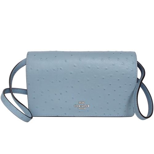 COACH水藍駝鳥紋全皮釦式翻蓋WOC手抓/斜背小包